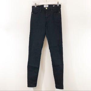 Frame Denim High Rise Skinny Jeans Noir Sz 26